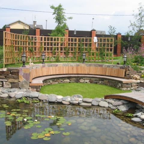 Ландшафтный дизайн, пруд с площадкой для отдыха