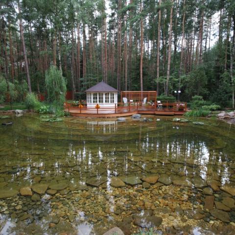 Зона для отдыха и прогулок с живописным прудом и беседкой.