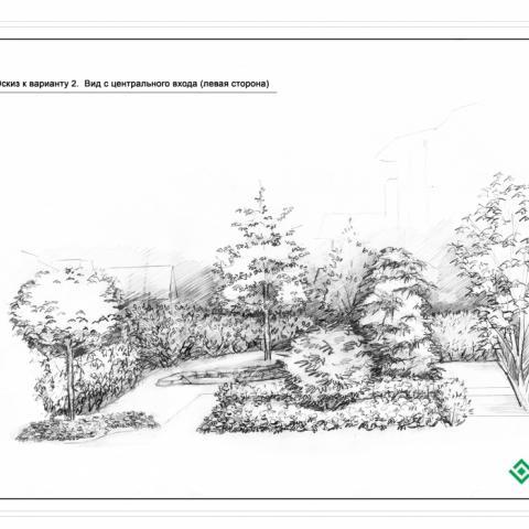 Ландшафтный проект сад 1, эскиз видовой точки 2. Вид с центрального входа