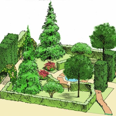 Ландшафтный проект. 3Д Визуализация. Потайной сад для уединения, эскизное предложение
