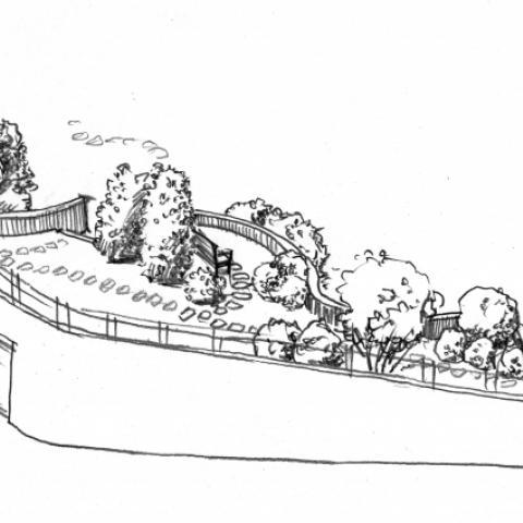 Ландшафтный проект. Рисунок графика. Подземный гараж, оформление