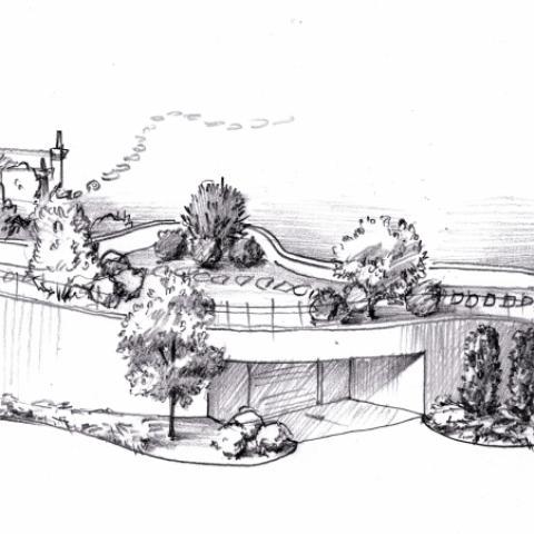 Ландшафтный проект. Рисунок графика. Подземный гараж, эскизное предложение