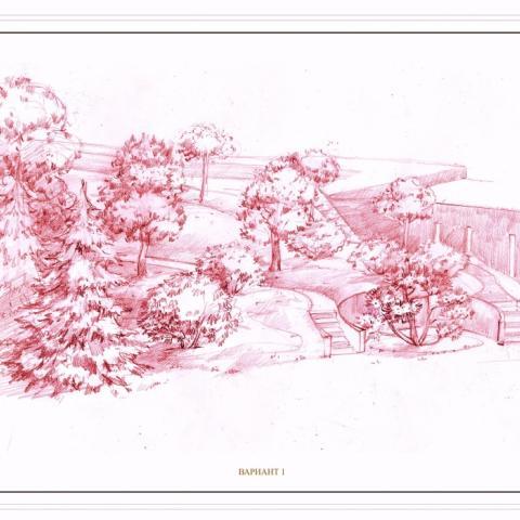 Ландшафтный проект. Рисунок графика. Гараж в холме с деревьями