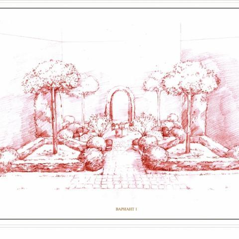 Ландшафтный проект. Рисунок графика. Итальянский дворик. Сосны пиньи
