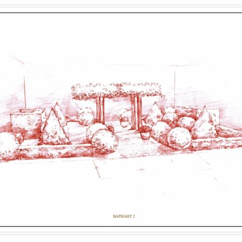 Ландшафтный проект. Рисунок графика. Итальянский дворик. Липы крыши