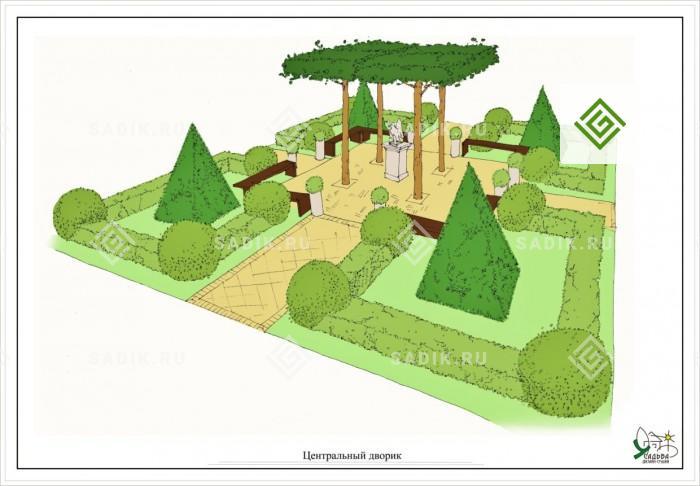 Эскиз ландшафтного проекта, эскизное проектирование